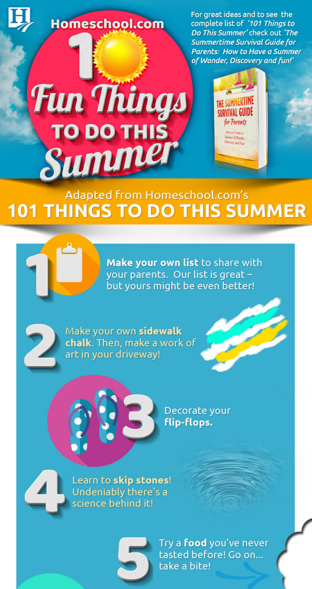 Summer fun infographic from Homeschool.com - fun things to do this summer