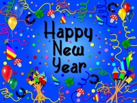 Colorful happy new year background blue
