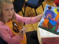 girl with art-drawing lessons for kids