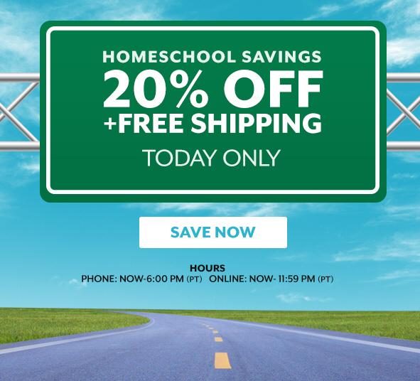Homeschool Savings   20% off through Midnight (PT)