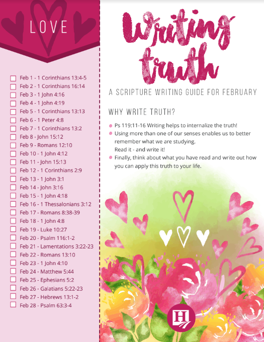 Scripture Writing for February