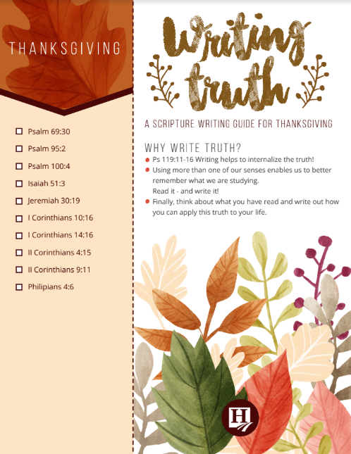 Thanksgiving Scripture Copy Work