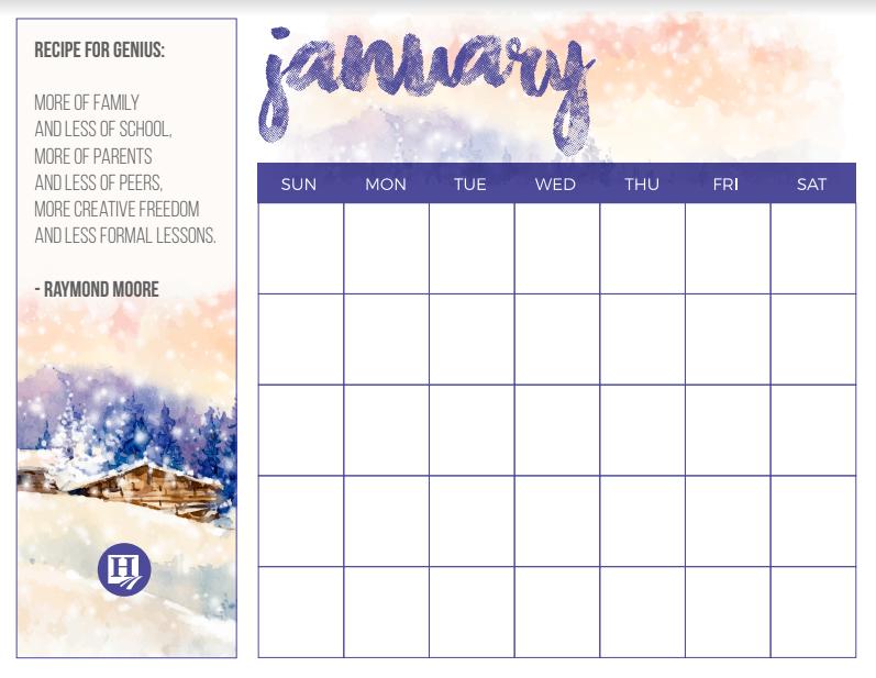 Beautiful January Calendar