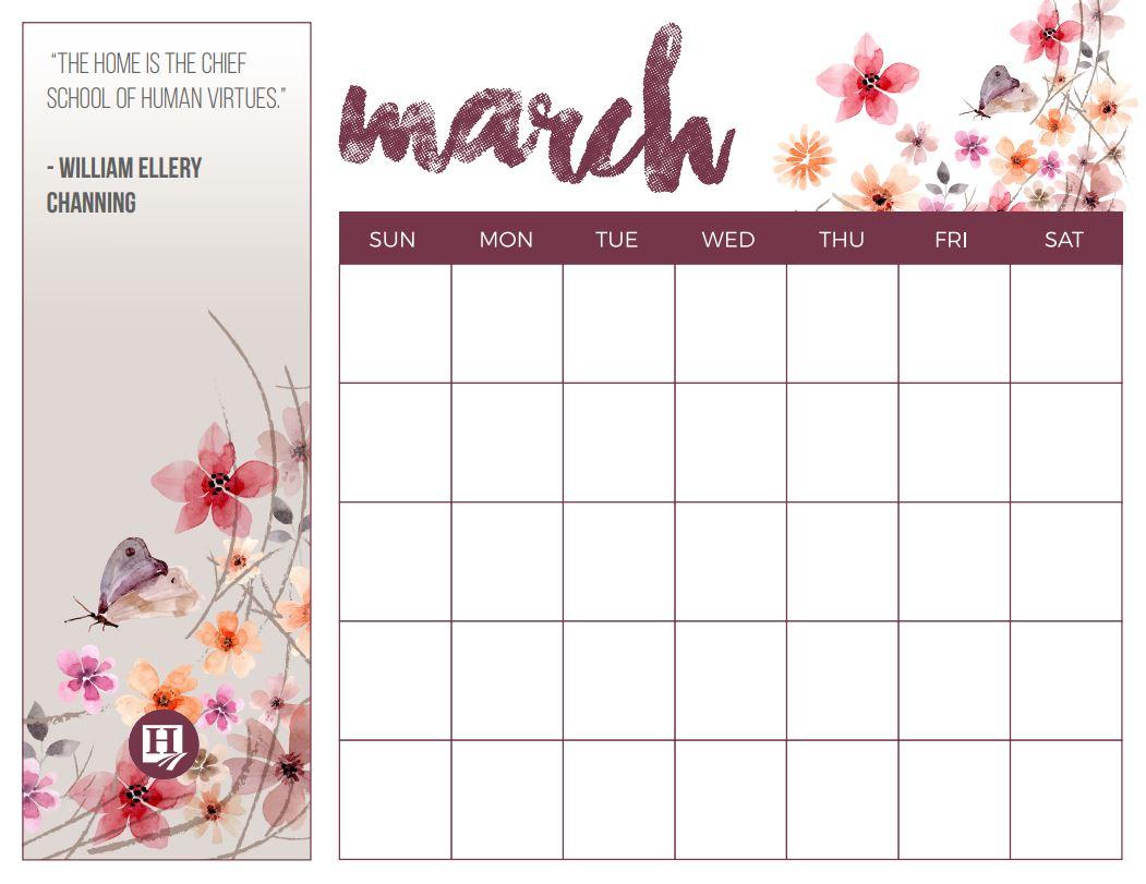March Calendar Printable