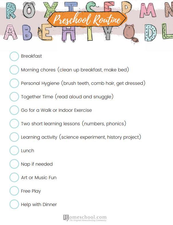 Preschool Schedule Printable