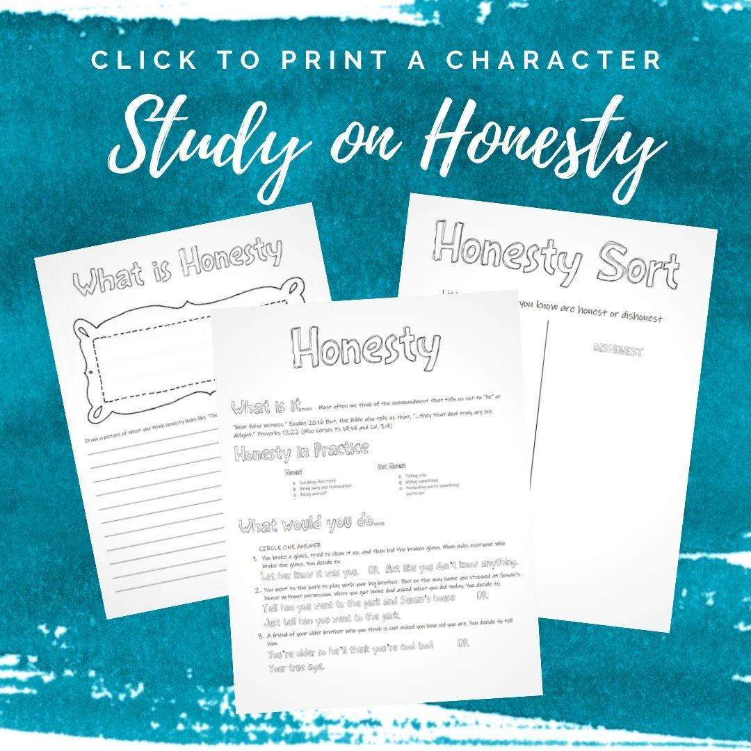 Character Training Kid Activities on Honesty