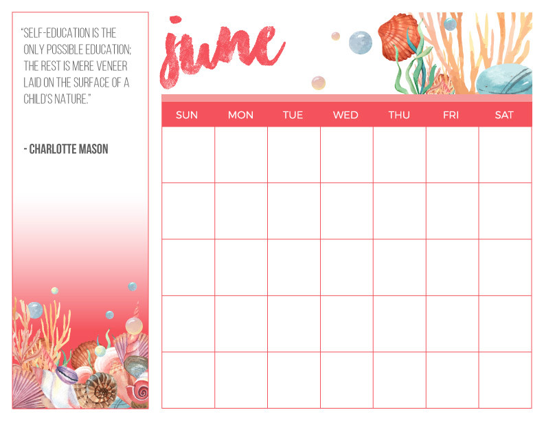 Homeschooling Calendar for June