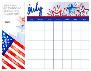 Homeschool Printable Calendar