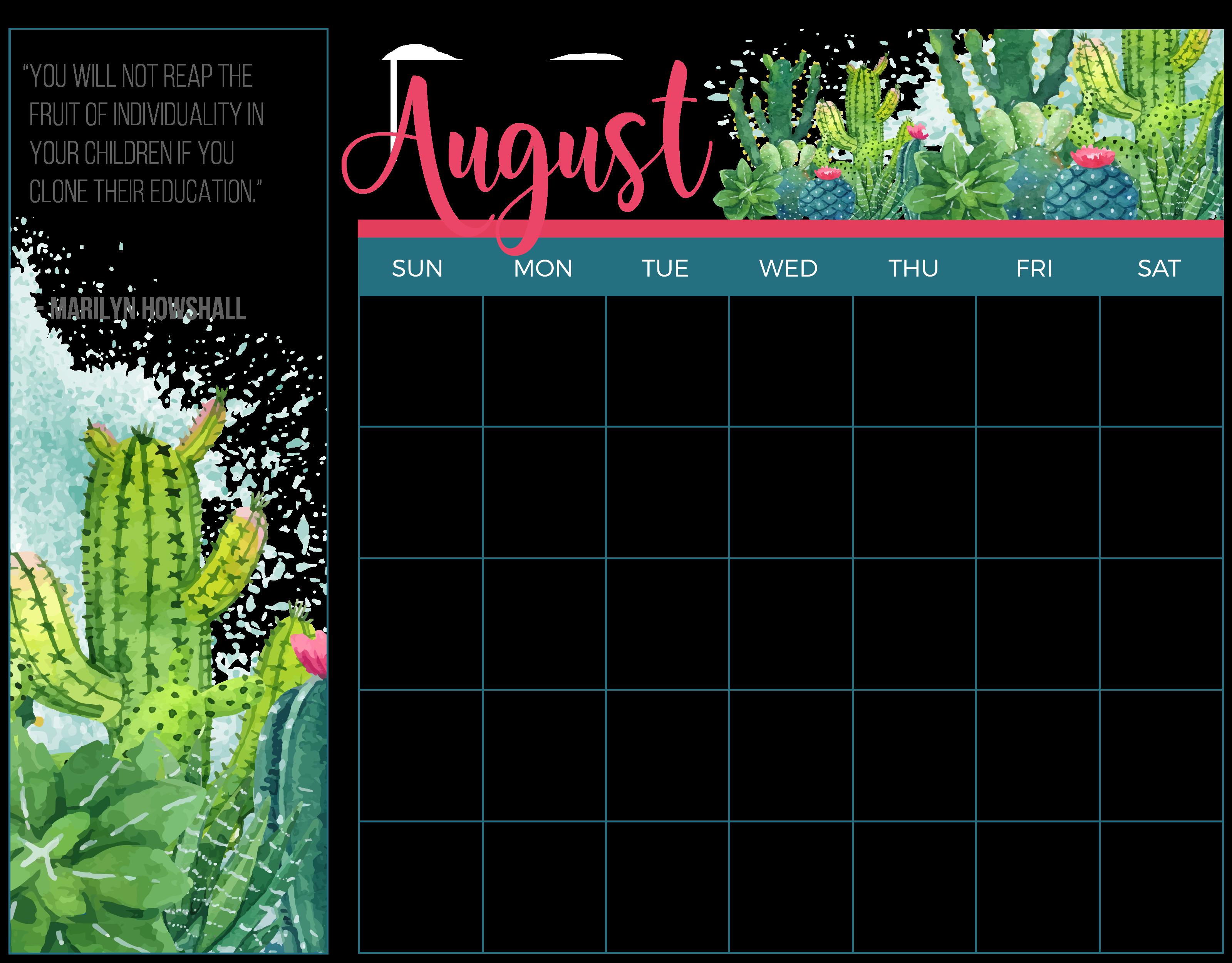 August Homeschool Printable Calendar