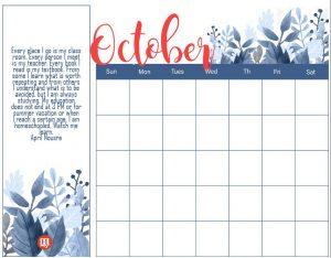 October Homeschool Printables