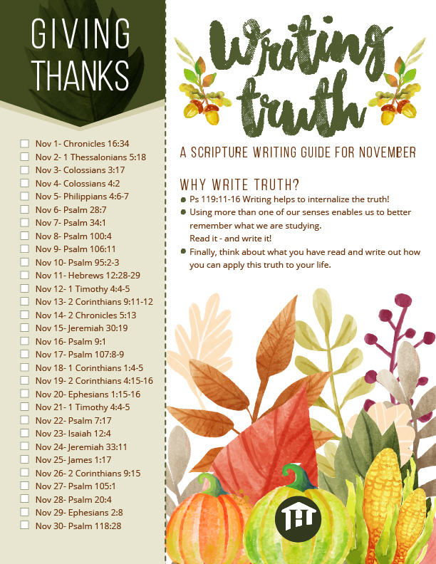 November Copy Work Printable