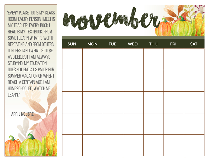 November Homeschool Calendar