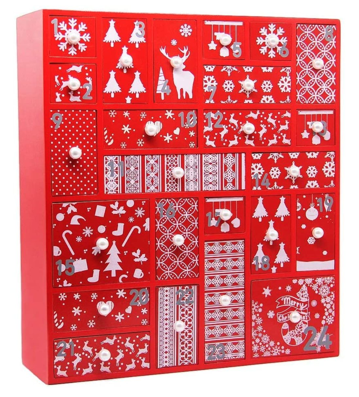 Red Wooden Christmas Advent Calendar
